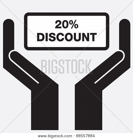 Hand showing 20 percent discount sign icon.