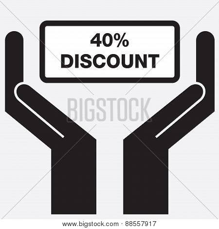 Hand showing 40 percent discount sign icon.