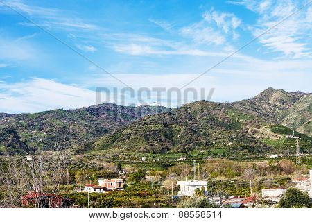 Suburb Of Town Gaggi In Green Hills, Sicily, Italy