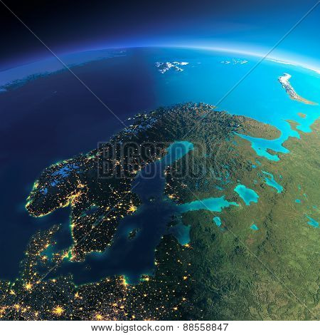 Detailed Earth. Europe. Scandinavia