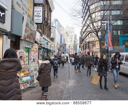Urban Scene At Myeong-dong Market In Seoul,south Korea