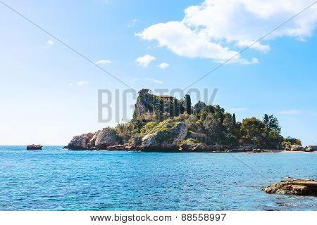 Island Isola Bella In Ionian Sea Near Taormina