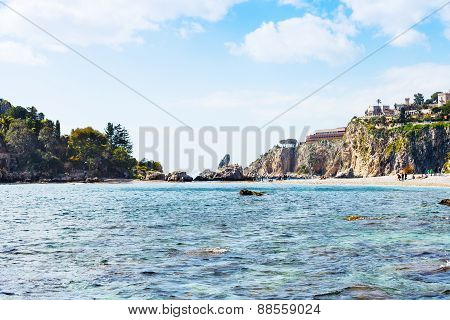 Cape Of Taormina And Isola Bella Beach In Sicily
