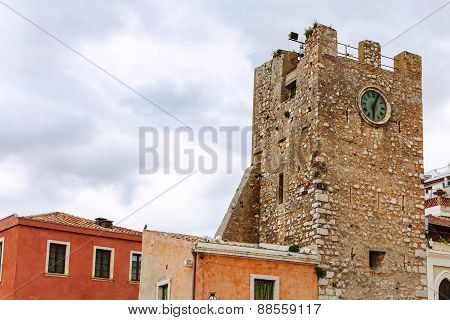 Clock Tower On 9Th Of April Square In Taormina
