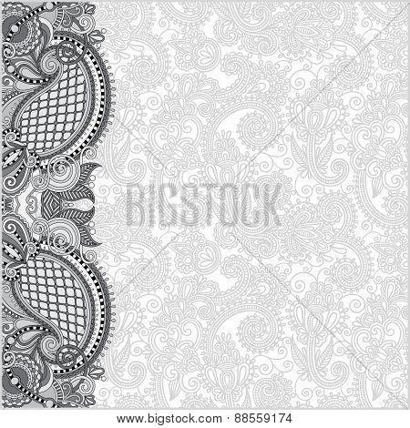 grey ornamental background with flower ribbon,