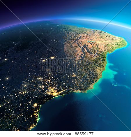 Detailed Earth. East Coast Of Brazil