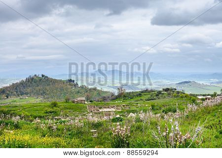 Landscape With Morgantina Settlement In Sicily