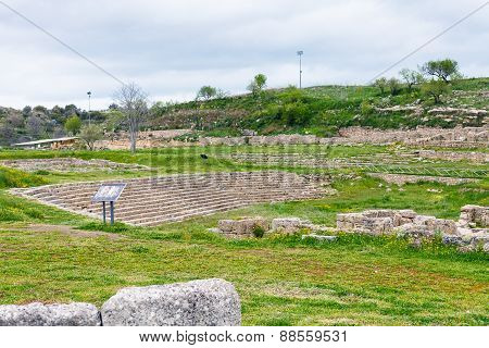 Ancient Greek Theater In Morgantina Ruins, Sicily