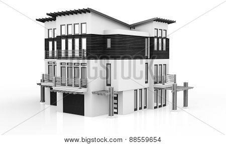 3D Monochrome Modern House
