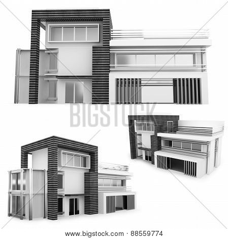 3D Monochrome  Modern House Collection