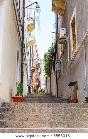 Narrow Street In Catania City, Sicily