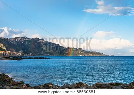 View Of Giardini Naxos Town, Cape And Rainbow