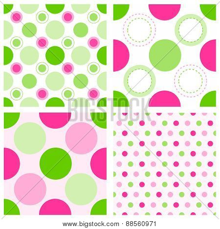 Pink And Green Polka Dt Pattern
