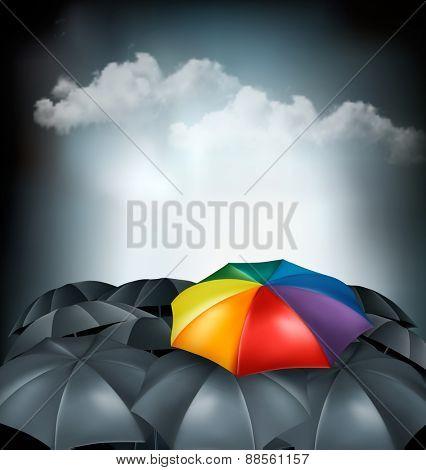 A rainbow umbrella amongst grey ones. Uniqueness concept. Vector.
