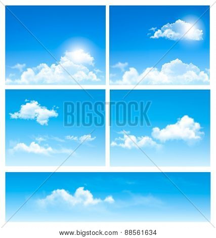 Five backgrounds of blue sky with clouds. Vector.