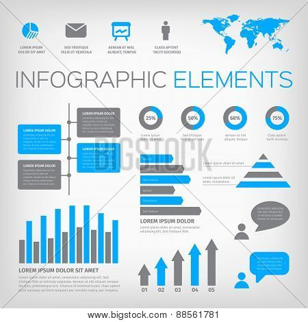 blue and gray infographic elements