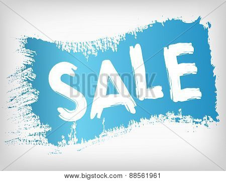 Sale promotion on blue painted grunge brush stain.