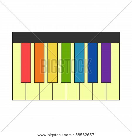 Piano with colorful keys