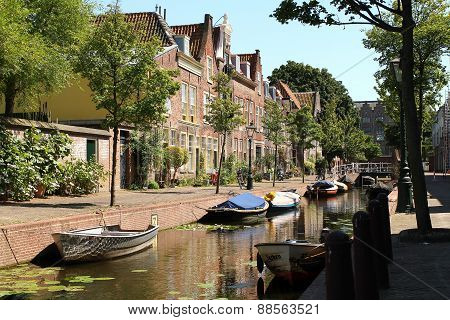 Residential area with canal and historic houses in Leiden The Netherlands