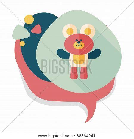 Teddy Bear Flat Icon With Long Shadow,eps10