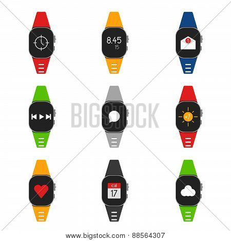 Set Of Smartwatch With Different Images On Them, As Well As Different Colors Straps.