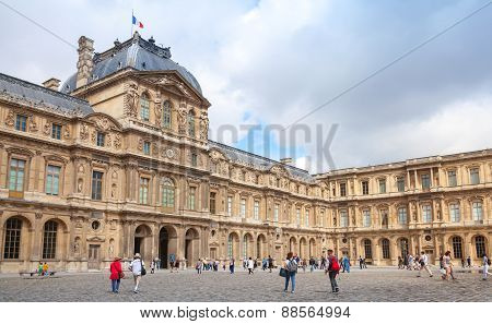Inner Courtyard And Exterior Of The Louvre, Paris