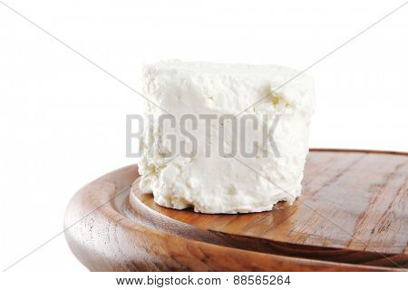 white light soft feta cheese on plate