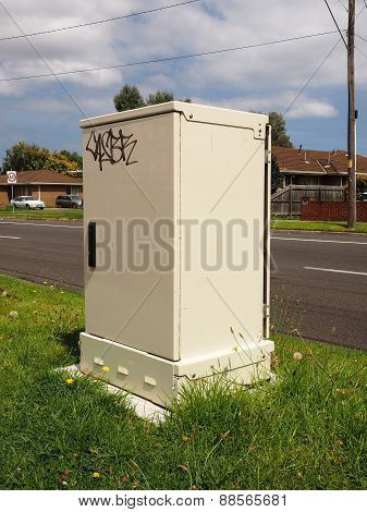 Fibre optic distribution hub of the National Broadband Network with graffiti