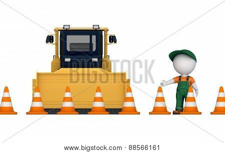 Yellow bulldozer near traffic cones.