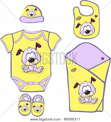 Cute Baby Layette With Cute Puppy - Vector Illustration