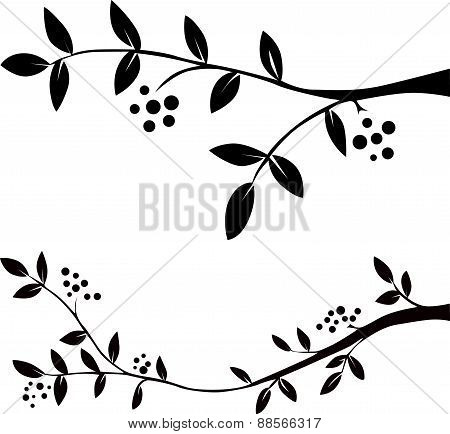 Twig With Leaves And Berries - Black Silhouette