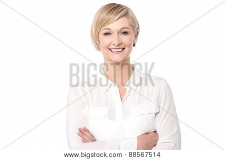 Confident Woman Isolated Over White