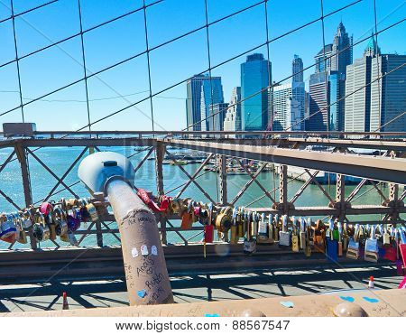 Love Locks On The Brooklyn Bridge, New York