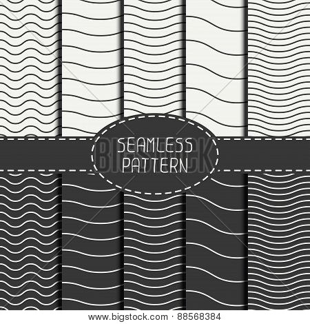 Set of geometric seamless wavy lines pattern. Irregular abstract striped. Collection of wrapping pap