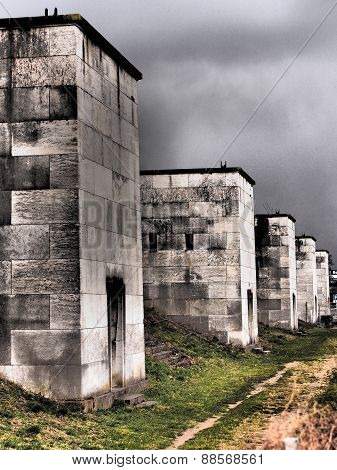 Dramatic view along the defunct west side light towers of the former Nazi Party rally grounds