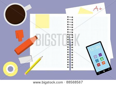 Messy Study Desk Vector Illustration