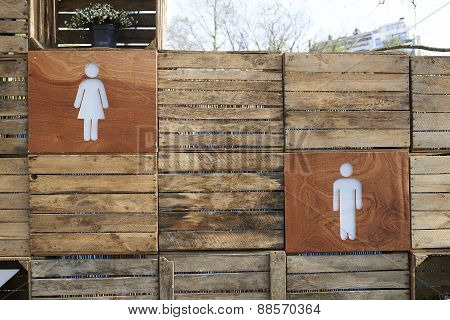 Male And Female Toilet Directions Sign