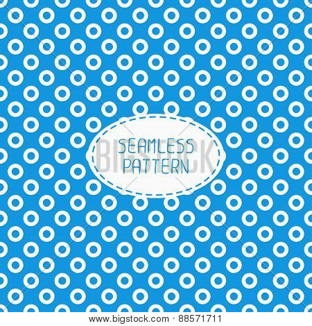 Geometric blue seamless polka dot pattern with circles. Wrapping paper. Paper for scrapbook. Tiling.