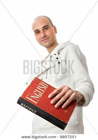Man Witn An English Dictionary