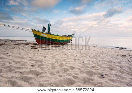 Fishing Boat On Beach. Beautiful Landscape