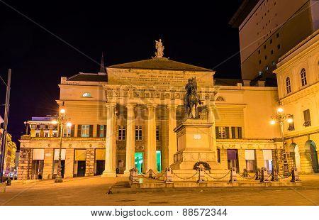 Garibaldi Statue In Front Of Teatro Carlo Felice In Genoa, Italy