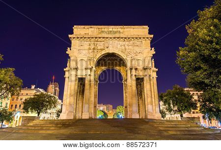 The Arch Of The Victory In Genoa, Italy