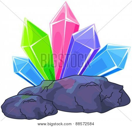 Illustration of a multi colored quartz crystal