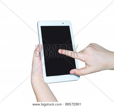 Touch screen tablet PC gadget in child's hands