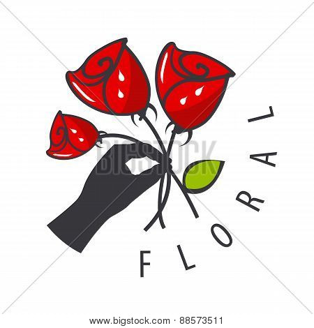 Vector Logo Hand Is Holding A Bouquet Of Flowers