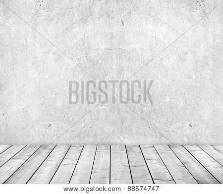 Grey cement wall and wooden floor