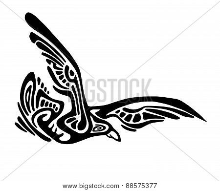 Black vector flying bird silhouette isolated on white