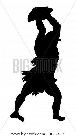 vector drawing neanderthal man on white background
