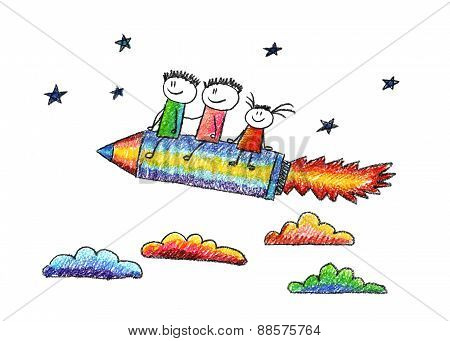 Happy kids with pencil shaped rocket