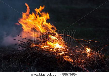 Bonfire In Strong Wind